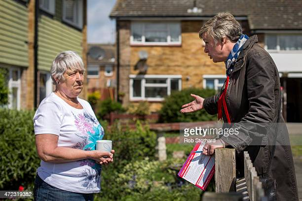 Polly Billington Labour Party candidate for Thurrock has a friendly chat with a local resident during campaigning in Tilbury on May 6 2015 in Tilbury...