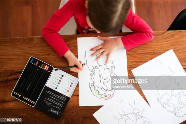 Polly King daughter of photographer Matt King is seen colouring in her home on March 28 2020 in Sydney Australia Around the globe children of all...