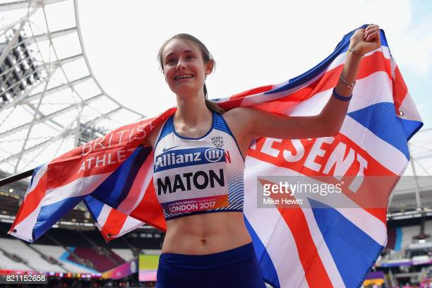 Polly Maton of Great Britain reacts after winning a silver medal in the Womens long jump T47 final during day ten of the IPC World ParaAthletics...