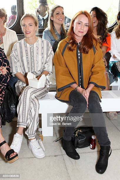 Polly Morgan and Keeley Hawes attend the ISSA Spring/Summer 2015 Show during London Fashion Week at the Queen Elizabeth Hall on September 15, 2014 in...