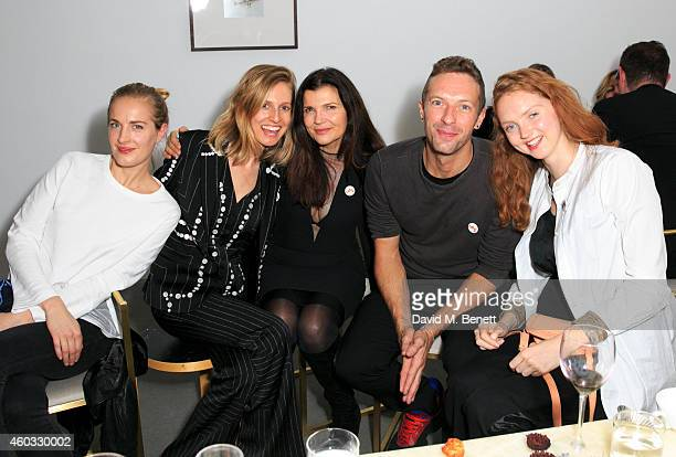Polly Morgan Danielle Sherman Ali Hewson Chris Martin and Lily Cole attend the Edun Pre Fall Dinner at Alison Jacques Gallery on December 11 2014 in...
