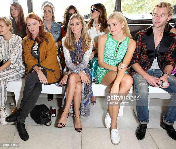 Polly Morgan Keeley Hawes Olivia Palermo Pixie Lott and Trent Whiddon attend the ISSA Spring/Summer 2015 Show during London Fashion Week at the Queen...