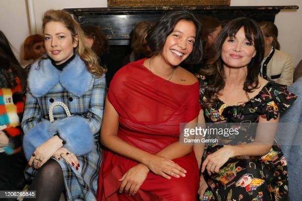 Polly Nor Naomi Shimada and Essie Davis attend the Shrimps show during London Fashion Week February 2020 on February 14 2020 in London England