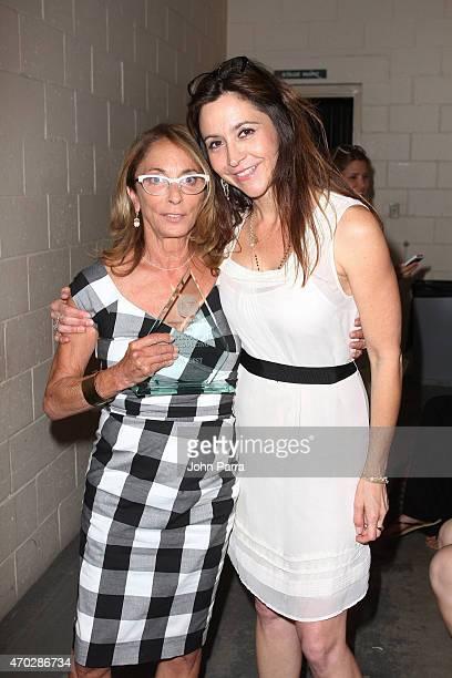 Polly Platt award winner producer Lynda Obst and Antonia Bogdanovich pose backstage at closing night award ceremony during the 2015 Sarasota Film...