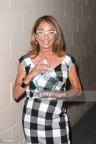 Polly Platt award winner producer Lynda Obst poses backstage at closing night award ceremony during the 2015 Sarasota Film Festival on April 18 2015...