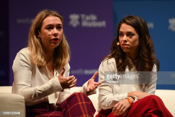 Polly Rodriguez CEO Unbound Babes left and Alexandra Fine CoFounder Dame Products on Auto/Tech TalkRobot speak during day three of Web Summit 2018 at...
