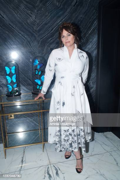 Polly Walker is seen in her award show look for the 27th Annual Screen Actors Guild Awards at the Dixon Hotel on March 31, 2021 in London, England....