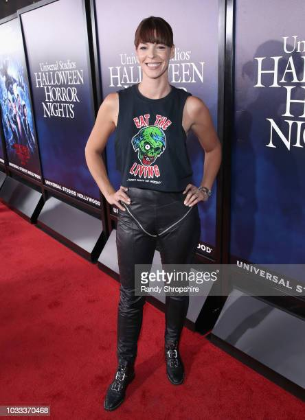 Pollyanna McIntosh attends Halloween Horror Nights 2018 at Universal Studios Hollywood on September 14 2018 in Los Angeles California