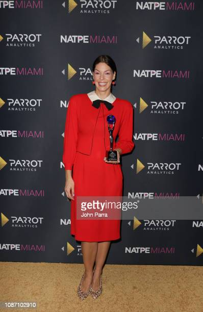 Pollyanna McIntosh receives the 2018 Global TV Demand Award Most InDemand TV Series 'The Walking Dead' at the Parrot Analytics Presents The Global TV...