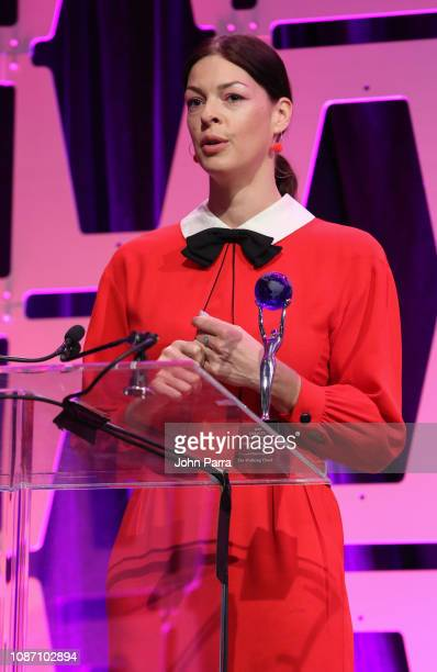 Pollyanna McIntosh speaks at the 2018 Global TV Demand Award Most InDemand TV Series for the'The Walking Dead' at the Parrot Analytics Presents The...