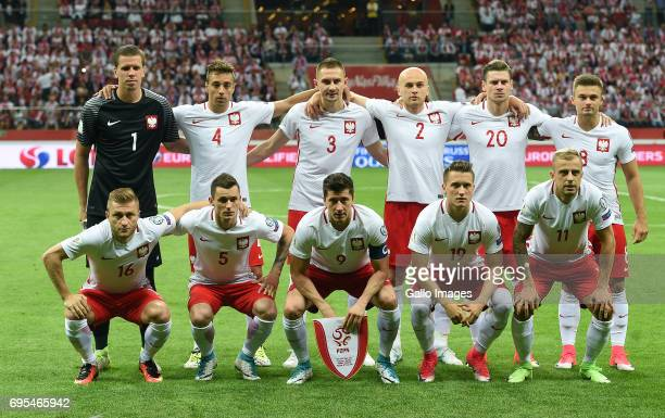 Polnad team line up during the 2018 FIFA World Cup Russia eliminations match between Poland and Romania on June 10 2017 at the National Stadium in...