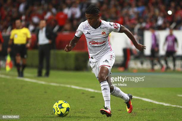 Polo Andy of Morelia drives the ball during a match between Atlas against Morelia the Clausura Tournament 2017 league Bancomer MX at Jalisco Stadium...