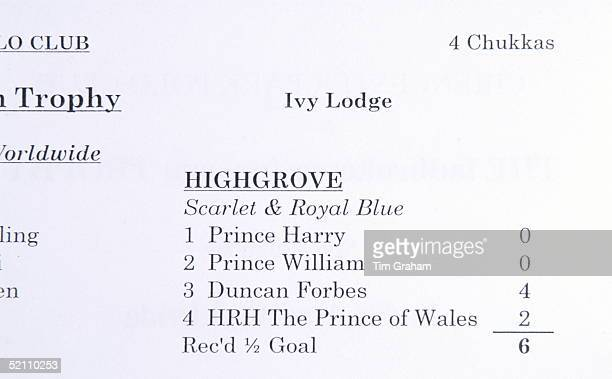 Polo At Cirencester In Gloucestershire The Programme For The Polo Match Showing Prince Charles Prince William And Prince Harry In Their Team Called '...