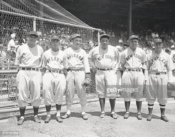 Polo Grounds New York Big League All Stars Meet At Polo Grounds The outfielders of the American League All Stars which met the leading players of the...