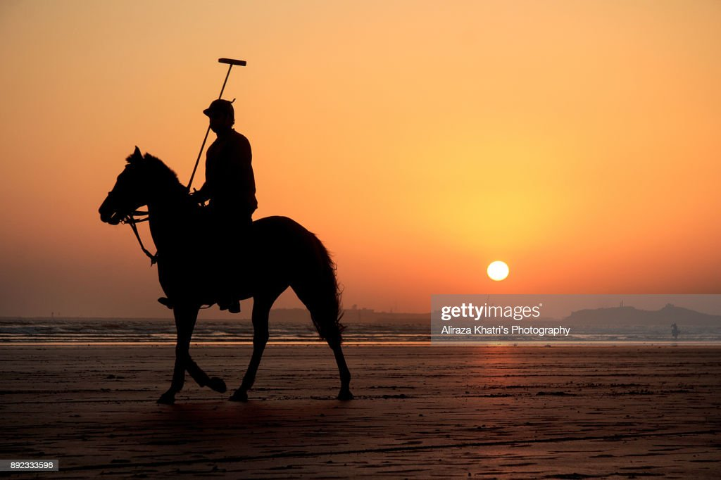 Polo Player And Horse Silhouette Sunset High Res Stock Photo Getty Images