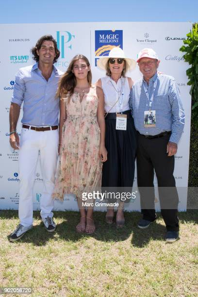 Polo player Nacho Figeuras and daughter Aurora with Katie Page and Gerry Harvey attend Magic Millions Polo on January 7 2018 in Gold Coast Australia