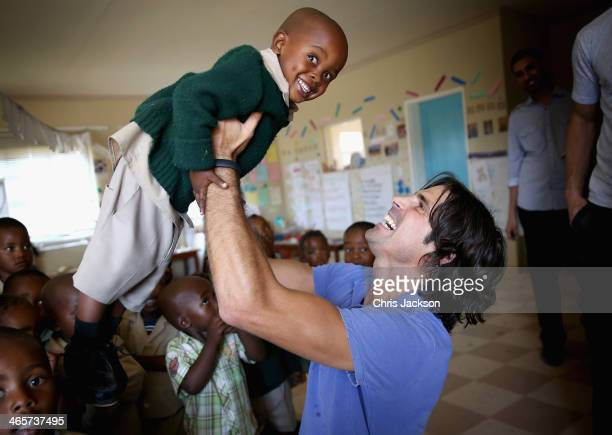 Polo Player Nacho Figueras visits the Mountain Kingdom of Lesotho with Prince Harry's Charity Sentebale on March 2 2013 in Maseru Lesotho Figueras...