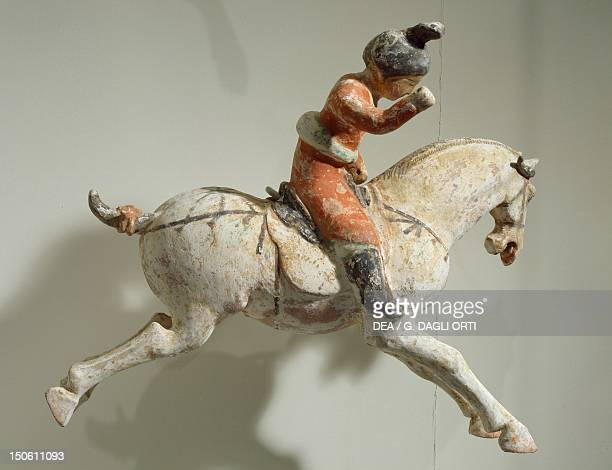 Polo player polychrome terracotta statue China Chinese Civilisation Tang Dynasty 8th century