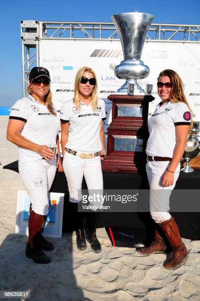 Polo player Sunny Hale Ashley Van Metre and Lauren Gridley attends 2010 AMG Miami Beach Women Polo World Cup on April 22 2010 in Miami Beach Florida