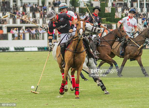 Polo Players Brandon Phillips in the Exibition Game at International Polo Club Palm Beach on January 16 2017 in Wellington Florida