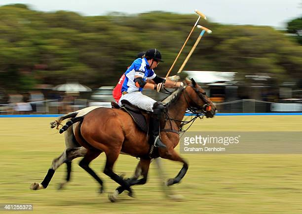 Polo players compete during the Portsea Polo event at Point Nepean Quarantine Station on January 10 2015 in Melbourne Australia