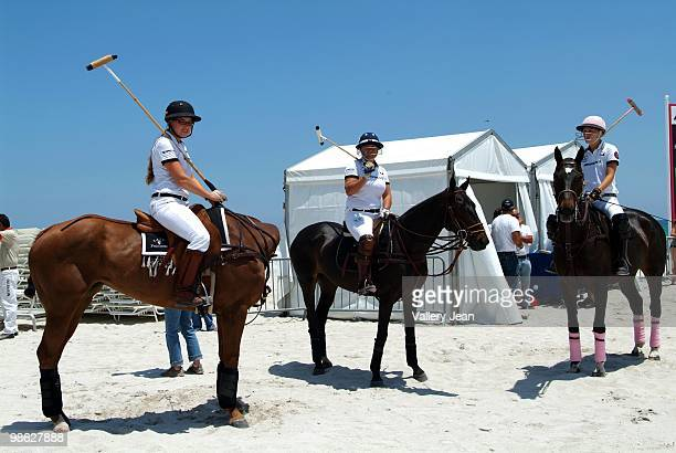 Polo players Lauren Gridley Sunny Hale and Ashley Van Metre attend the 2010 AMG Miami Beach Women Polo World Cup on April 22 2010 in Miami Beach...
