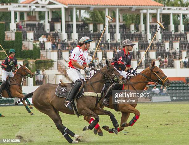 Polo Players Nic Roldan and Jeff Hall Rides in the Exibition Game at International Polo Club Palm Beach on January 16 2017 in Wellington Florida