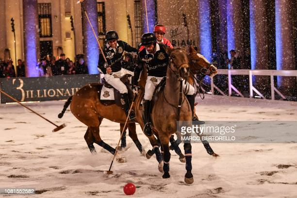 TOPSHOT Polo players play a game within the presentation of fashion house Billionaire's Men's Fall/Winter 2019/20 fashion shows in Milan on January...