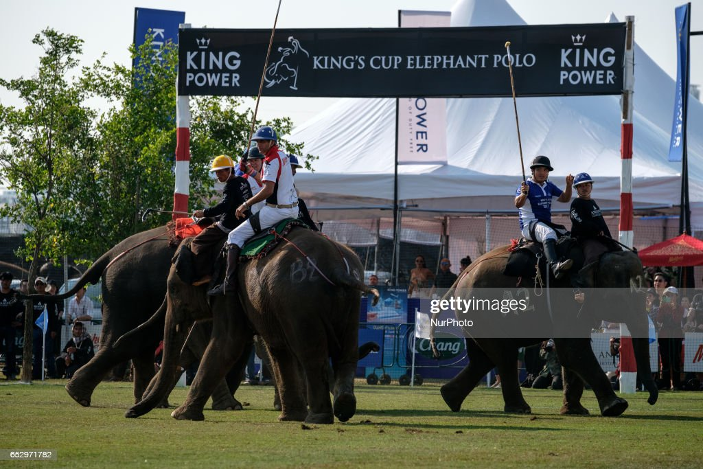 Polo players ride elephants during the 2017 King's Cup Elephant Polo tournament at Anantara Chaopraya Resort in Bangkok, Thailand on March 12, 2017. The King's Cup Elephant Polo is one of the biggest annual charity events in Thailand. Since the first tournament, originally held in the seaside town of Hua Hin, 50 street elephants have been rescued. The annual event allows for a further 20 young elephants to be taken off the streets for the duration of the tournament, providing them with the best food possible, as well as the only proper veterinary check they receive all year.Elephants are a proud cultural symbol of Thailand's history.