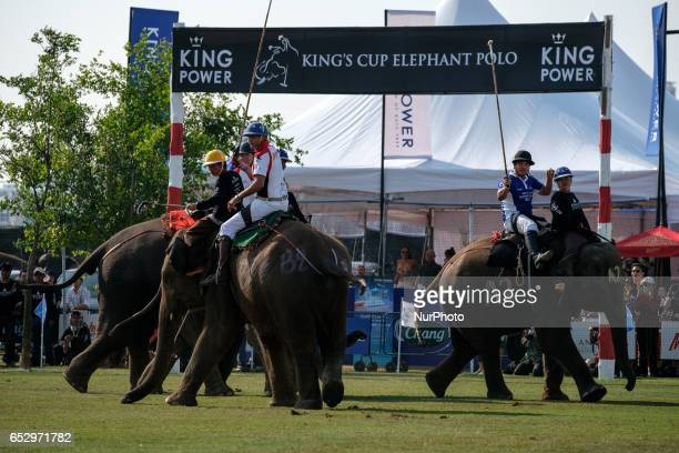 Polo players ride elephants during the 2017 King's Cup Elephant Polo tournament at Anantara Chaopraya Resort in Bangkok Thailand on March 12 2017 The...