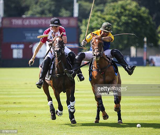 Polo players seen at the Royal Salute Coronation Cup at Guards Polo Club on July 23 2016 in Egham England