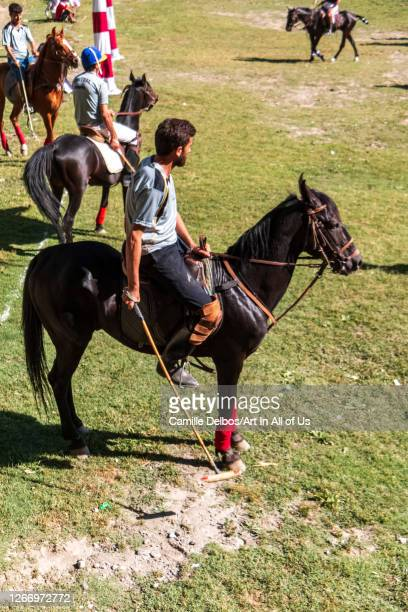 Polo players waiting the start of the game on Mai 25 2016 in Chitral Khyber Pakhtunkhwa Pakistan