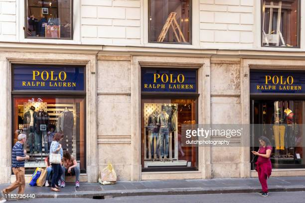 polo ralph lauren store in charming rome, italy - ralph lauren designer label stock pictures, royalty-free photos & images