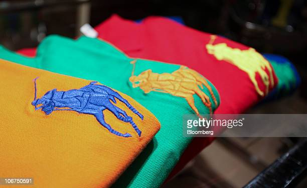 Polo shirts sit on display at the Ralph Lauren store in London UK on Thursday Nov 11 2010 Polo Ralph Lauren Corp the New Yorkbased seller of the...
