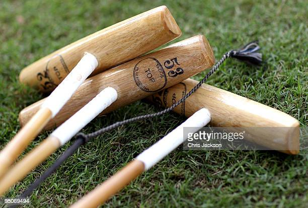 Polo Sticks lie on the pitch at the Cartier International Dubai Polo Challenge at the Palm Desert Resort and Spa on March 26 2010 in Dubai United...
