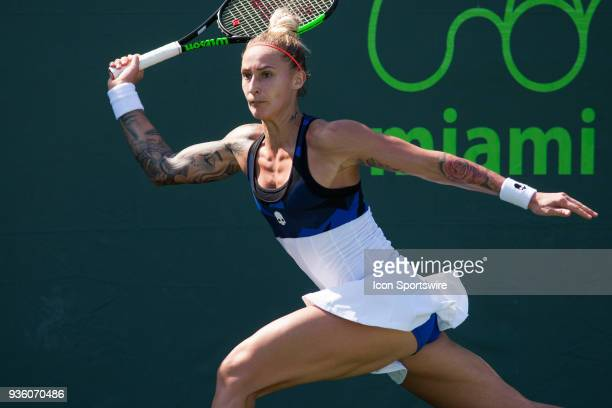 Polona Hercog competes during the qualifying round of the 2018 Miami Open on March 19 at Tennis Center at Crandon Park in Key Biscayne FL