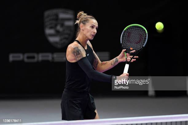 Polona Hercog in action - receiving the ball during her match against Emma Raducanu on the fourth day of WTA 250 Transylvania Open Tour held in BT...