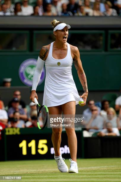 Polona Hercog of Slovenia celebrates in her Ladies' Singles third round match against Cori Gauff of The United States during Day five of The...