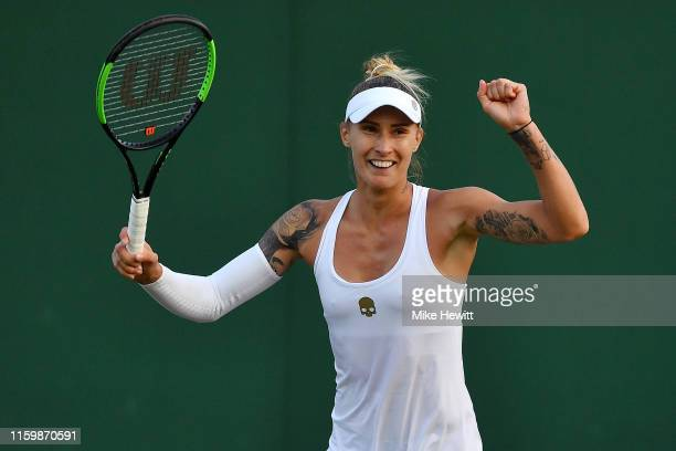Polona Hercog of Slovenia celebrates match point in her Ladies' Singles second round match against Madison Keys of The United States during Day three...