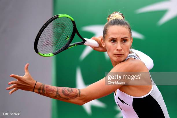 Polona Hercog of Slovenia in her ladies singles first round match against Aliaksandra Sasnovich of Belarus during Day one of the 2019 French Open at...