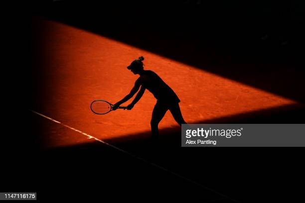 Polona Hercog of Slovenia in her match against Sloane Stephens of The United States during day two of the Mutua Madrid Open at La Caja Magica on May...