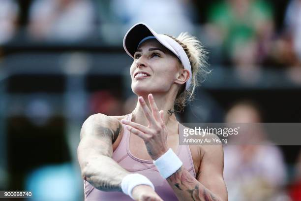 Polona Hercog of Slovenia looks on after winning her match against Kirsten Flipkens of Belgium during day three of the ASB Women's Classic at ASB...