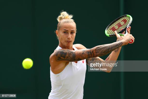 Polona Hercog of Slovenia plays a backhand during the Ladies Singles third round match against Svetlana Kuznetsova of Russia on day six of the...