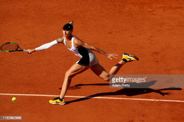 Polona Hercog of Slovenia plays a forehand during her ladies singles third round match against Sloane Stephens of The United States during Day six of...