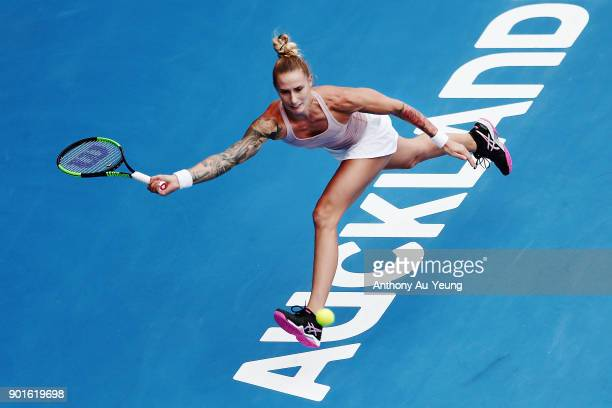Polona Hercog of Slovenia plays a forehand in her quarter final match against Julia Goerges of Germany during day six of the ASB Women's Classic at...