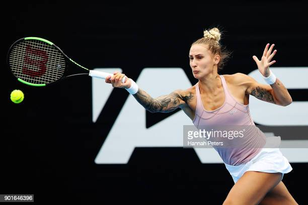 Polona Hercog of Slovenia plays a forehand in her quarterfinal match against Julia Goerges of Germany during day six of the ASB Women's Classic at...
