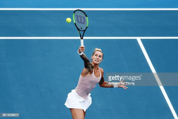 Polona Hercog of Slovenia plays a shot in her quarter final match against Julia Goerges of Germany during day six of the ASB Women's Classic at ASB...