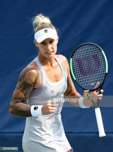 Polona Hercog of Slovenia reacts during her women's singles first round match against Claire Liu of the United States on Day One of the 2018 US Open...