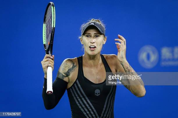 Polona Hercog of Slovenia reacts during the match against Petra Kvitova of Czech on Day 2 of 2019 Dongfeng Motor Wuhan Open at Optics Valley...