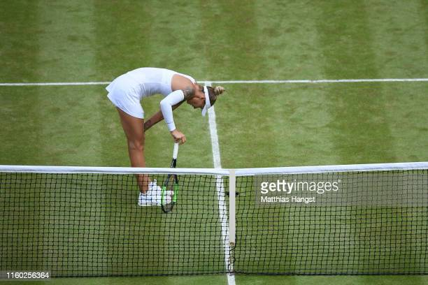 Polona Hercog of Slovenia reacts in her Ladies' Singles third round match against Cori Gauff of The United States during Day five of The...